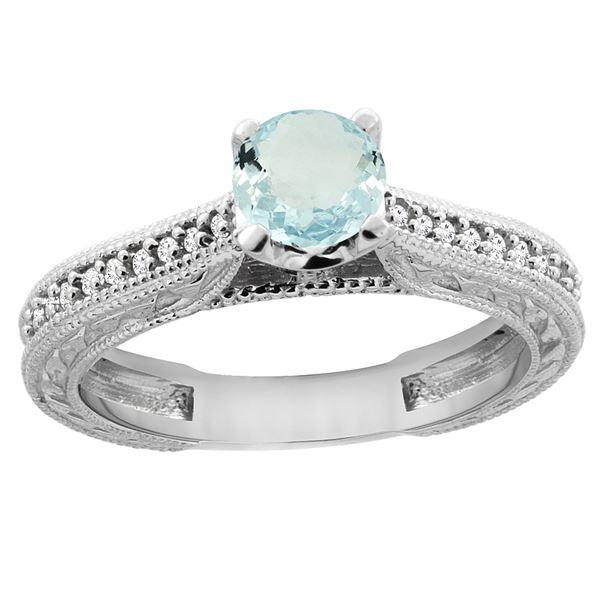 0.57 CTW Aquamarine & Diamond Ring 14K White Gold - REF-54Y4V