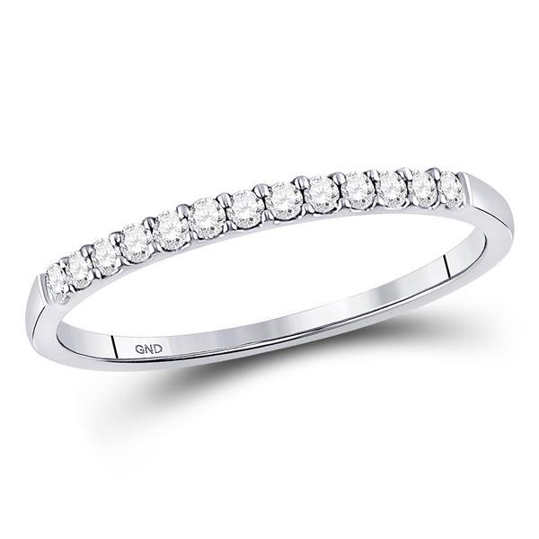 Round Pave-set Diamond Wedding Band 1/6 Cttw 10KT White Gold
