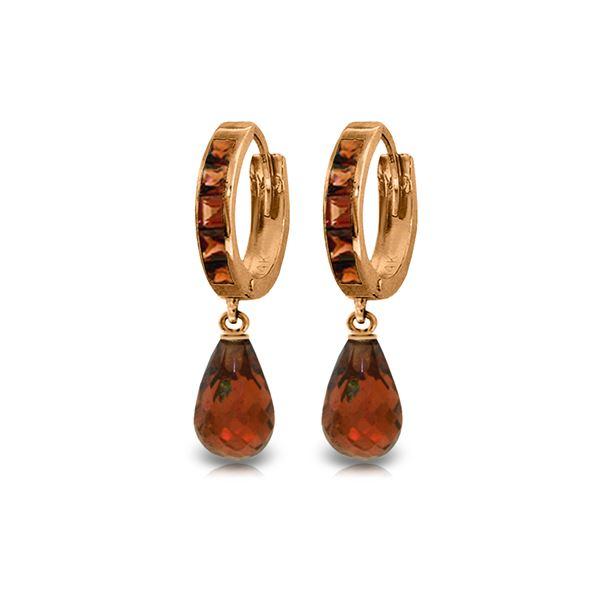 Genuine 5.35 ctw Garnet Earrings 14KT Rose Gold - REF-43M6T