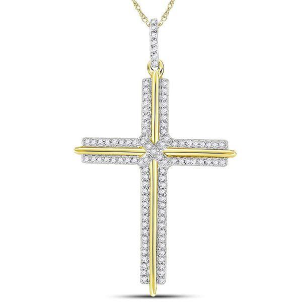 Round Diamond Cross Charm Pendant 1/4 Cttw 10KT Yellow Gold