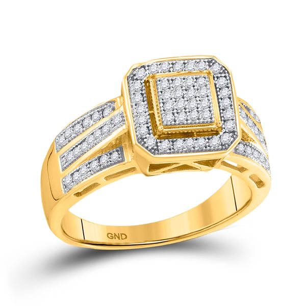 Round Diamond Square Frame Cluster Ring 1/4 Cttw 10KT Yellow Gold