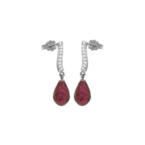 Genuine 6.88 ctw Ruby & Diamond Earrings 14KT White Gold - REF-47A3K