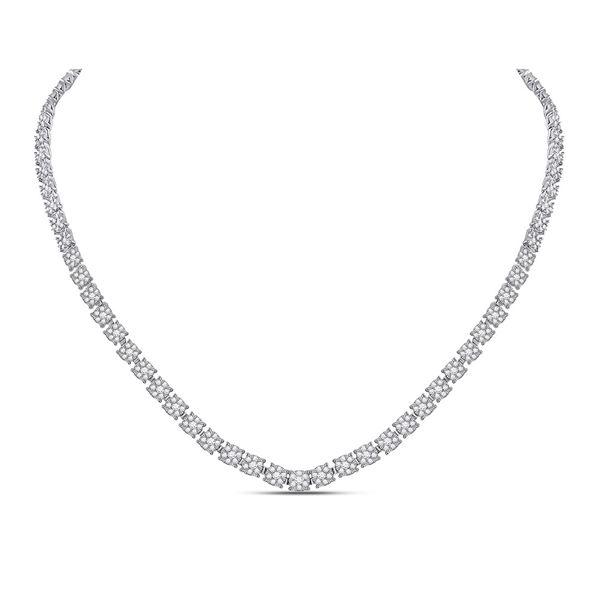 Round Diamond Flower Cluster Tennis Necklace 8-1/4 Cttw 14KT White Gold