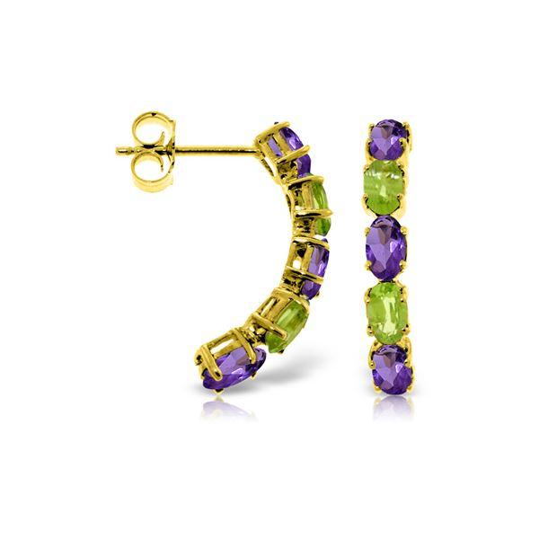 Genuine 2.5 ctw Amethyst & Peridot Earrings 14KT Yellow Gold - REF-37K4V