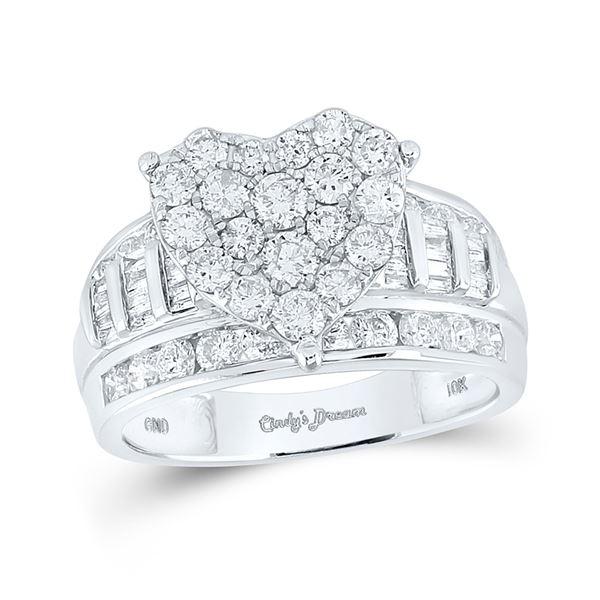 Diamond Heart Bridal Wedding Engagement Ring 2 Cttw 10KT White Gold