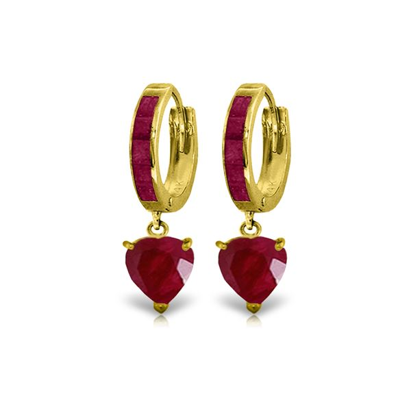 Genuine 3.65 ctw Ruby Earrings 14KT Yellow Gold - REF-67R9P