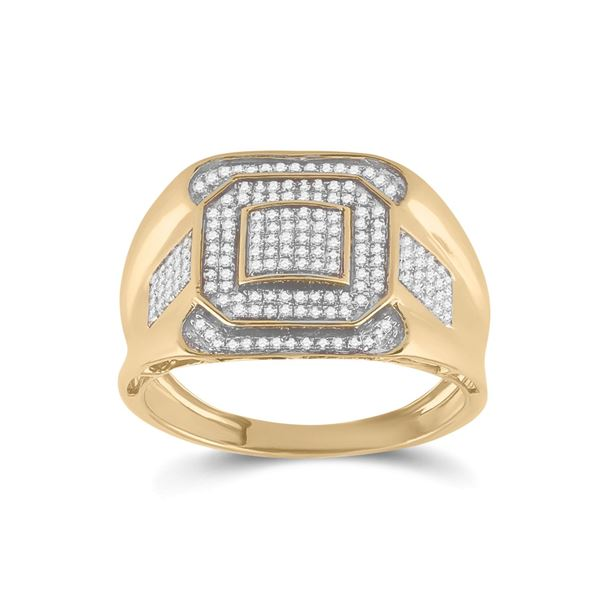 Round Diamond Octagon Square Cluster Ring 1/2 Cttw 10KT Yellow Gold