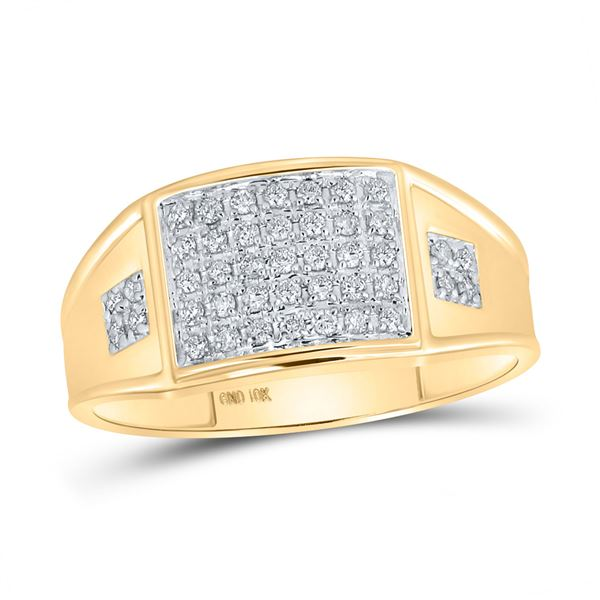 Round Prong-set Diamond Square Cluster Ring 1/4 Cttw 10KT Yellow Gold