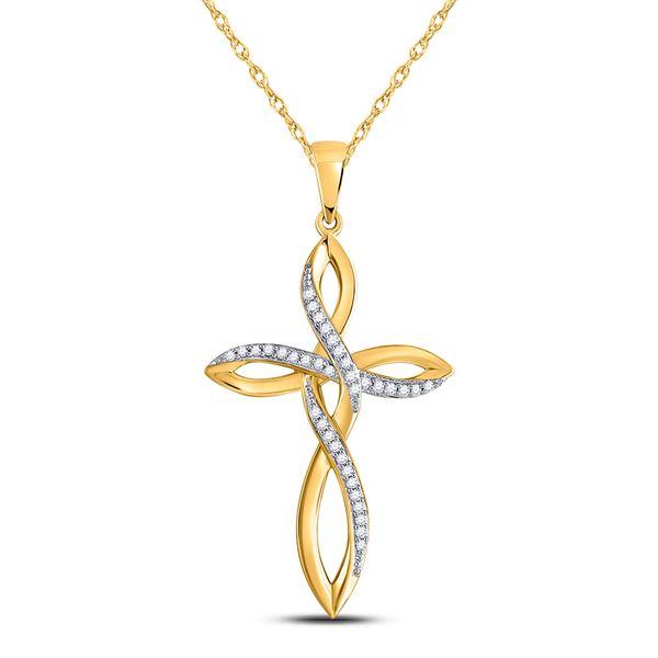 Round Diamond Cross Pendant 1/10 Cttw 10KT Yellow Gold