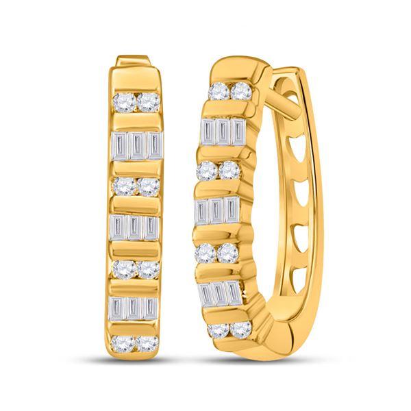 Baguette Diamond Hoop Earrings 1/4 Cttw 10KT Yellow Gold
