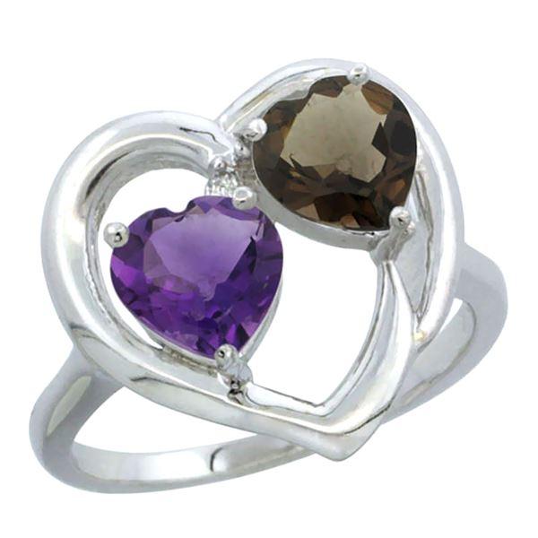 2.61 CTW Diamond, Amethyst & Quartz Ring 14K White Gold - REF-33N9Y