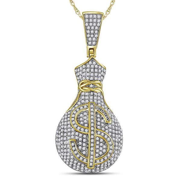 Round Diamond Money Bag Dollar Sign Charm Pendant 1 Cttw 10KT Yellow Gold