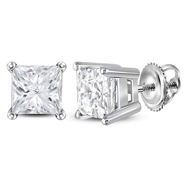 Princess Diamond Solitaire Earrings 1-1/2 Cttw 14KT White Gold