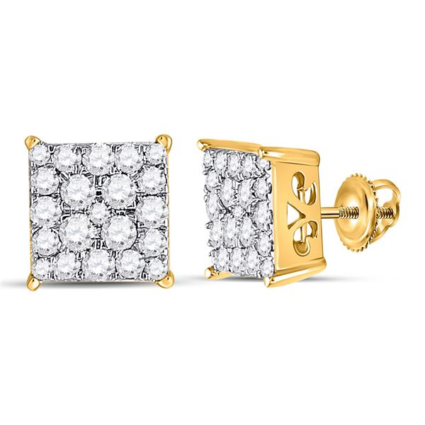 Round Diamond Square Cluster Earrings 1/2 Cttw 10KT Yellow Gold
