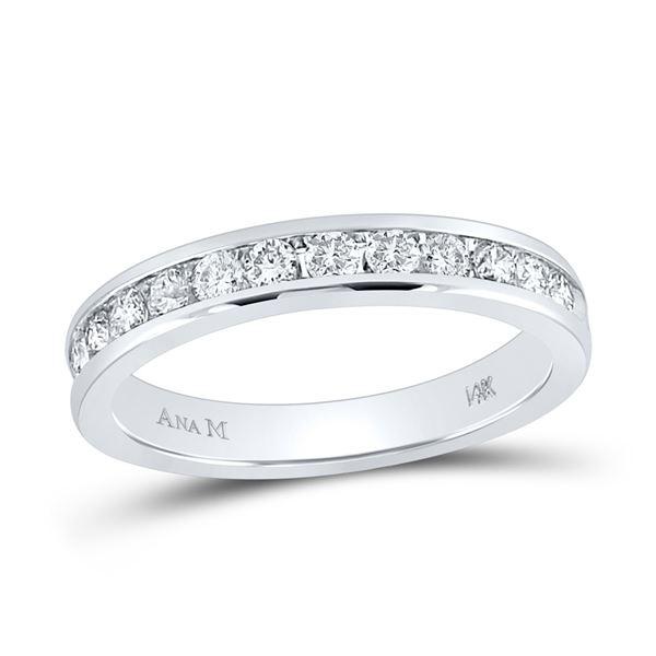 Machine-Set Round Diamond Wedding Band 1/2 Cttw 14KT White Gold