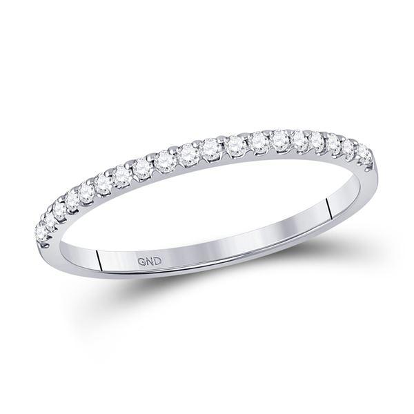 Round Diamond Wedding Single Row Band 1/6 Cttw 14KT White Gold
