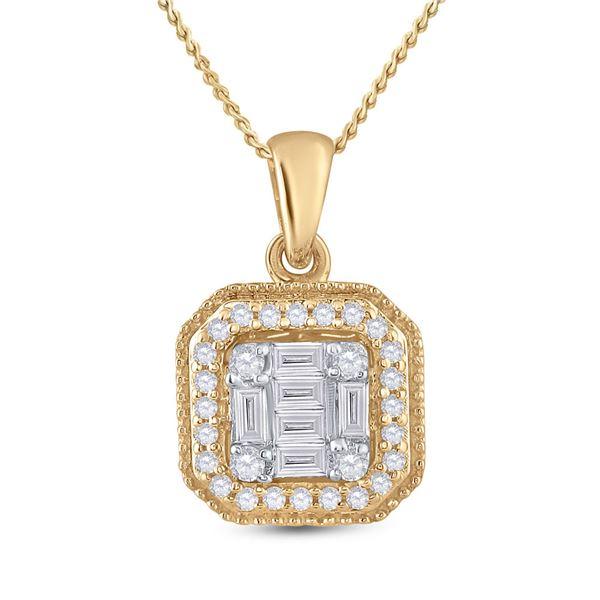 Round Diamond Cushion Cluster Pendant 1/4 Cttw 14KT Yellow Gold