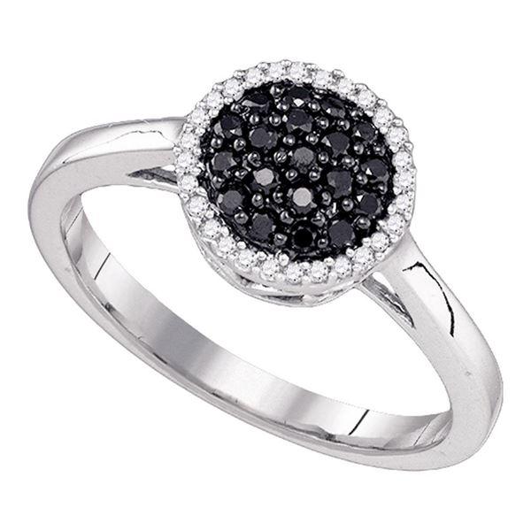Black Color Enhanced Diamond Halo Cluster Ring 1/4 Cttw 10KT White Gold