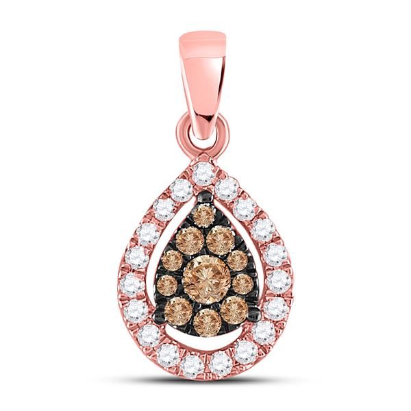 Round Brown Diamond Teardrop Cluster Pendant 1/3 Cttw 14KT Rose Gold