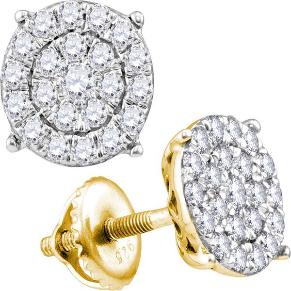 Round Diamond Cluster Earrings 1 Cttw 10KT Yellow Gold