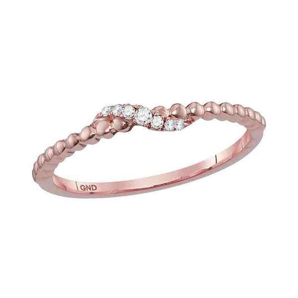 Round Diamond Crossover Stackable Band Ring 1/20 Cttw 10KT Rose Gold