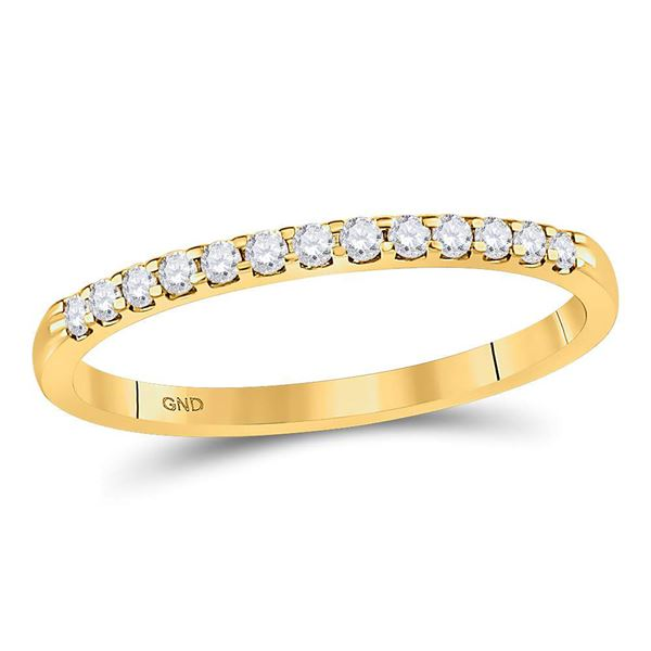 Round Diamond Single Row Machine-set Wedding Band 1/6 Cttw 14KT Yellow Gold