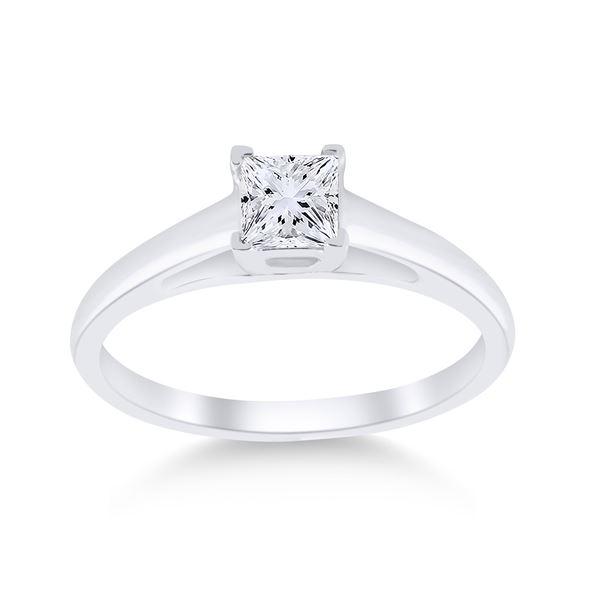 Round Diamond Princess Ring 1/2 Cttw 14KT White Gold
