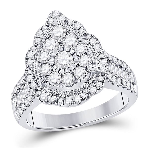 Round Diamond Teardrop Pear Ring 1-5/8 Cttw 14KT White Gold