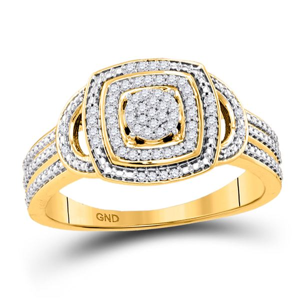 Round Diamond Cluster Ring 1/6 Cttw 10KT Yellow Gold