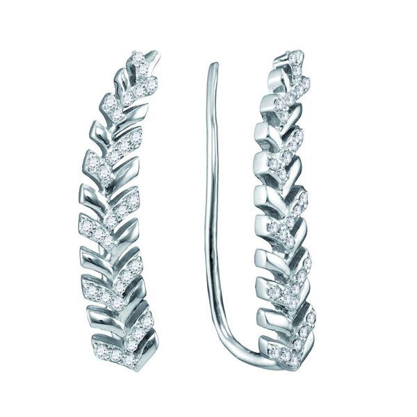 Round Diamond Tapered Leaf Climber Earrings 1/5 Cttw 10KT White Gold