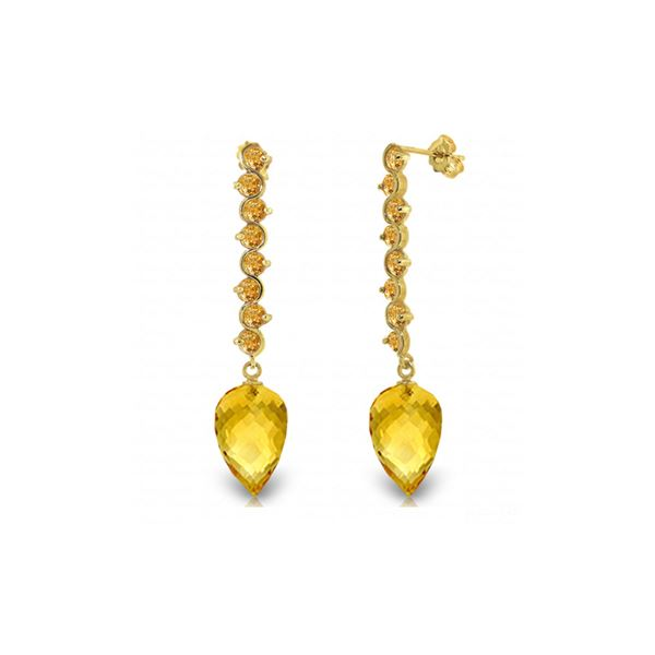 Genuine 22.1 ctw Citrine Earrings 14KT Yellow Gold - REF-69R2P