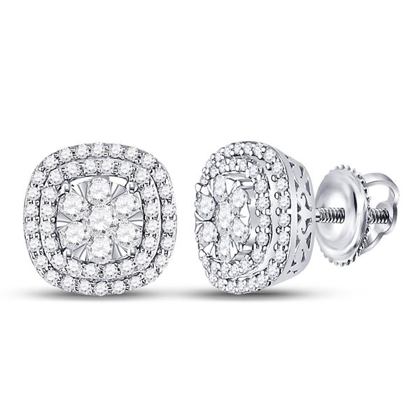 Round Diamond Cluster Cushion Earrings 1 Cttw 14KT White Gold