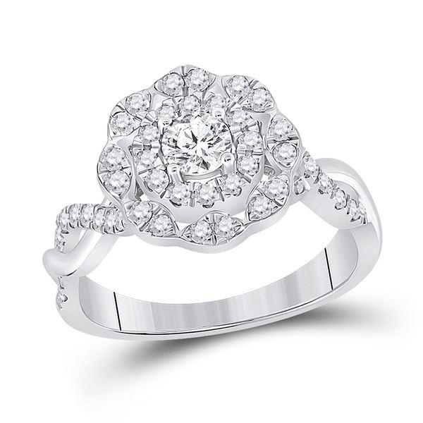 Diamond Halo Bridal Wedding Engagement Ring 7/8 Cttw 14KT White Gold