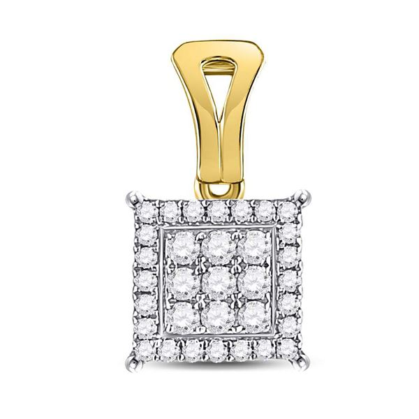 Round Diamond Square Cluster Pendant 1/4 Cttw 14KT Yellow Gold