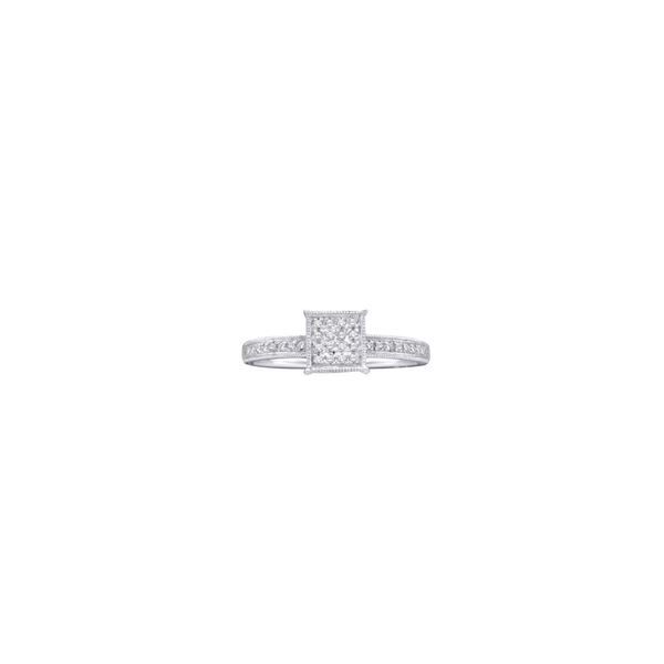 Round Diamond Square Cluster Ring 1/10 Cttw 10KT White Gold