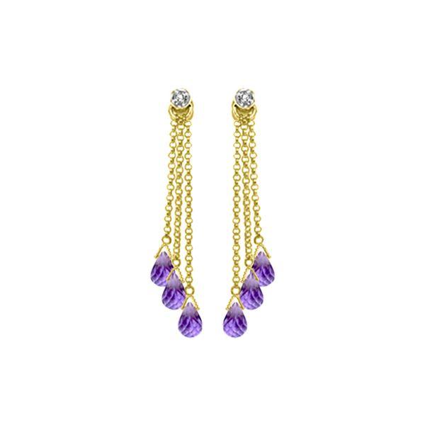 Genuine 10.53 ctw Amethyst & Diamond Earrings 14KT Yellow Gold - REF-32X9M