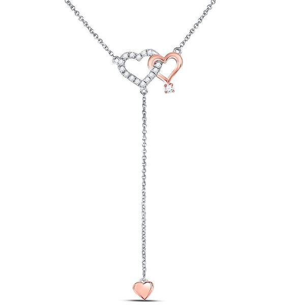 Round Diamond Y Shape Heart Necklace 1/8 Cttw 14KT Two-tone Gold