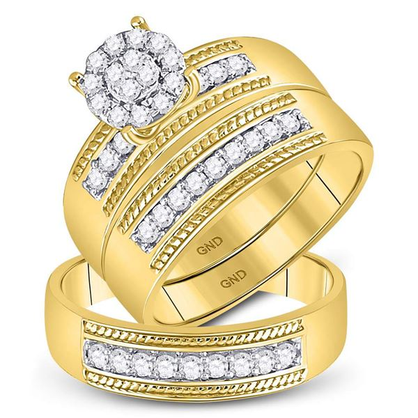 Diamond Cluster Matching Wedding Set 3/4 Cttw 10KT Yellow Gold