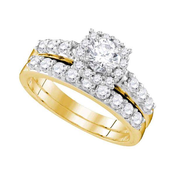 Diamond Halo Bridal Wedding Ring Band Set 1-1/2 Cttw 14KT Yellow Gold