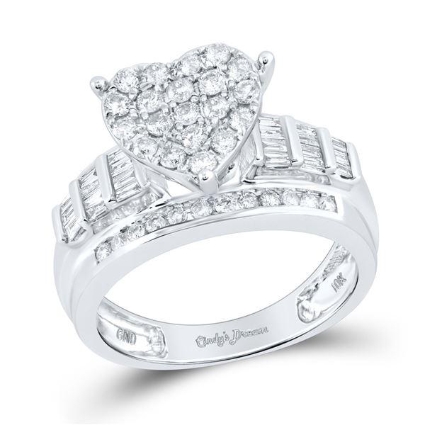 Diamond Heart Bridal Wedding Engagement Ring 1 Cttw 10KT White Gold