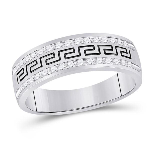 Round Diamond Grecco Wedding Anniversary Band 1/2 Cttw 14KT White Gold