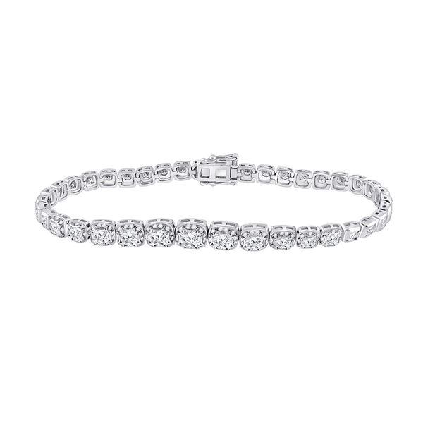 Round Diamond Tennis Bracelet 3-3/4 Cttw 14KT White Gold