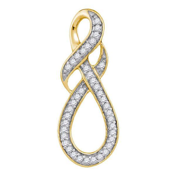 Round Diamond Wraparound Infinity Pendant 1/5 Cttw 10KT Yellow Gold