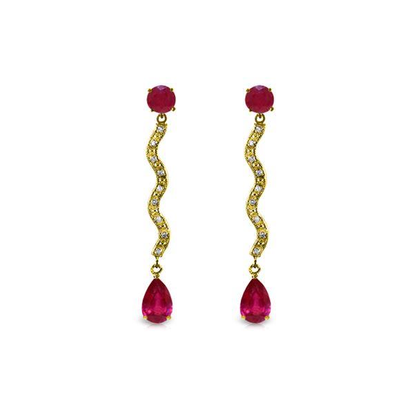 Genuine 4.35 ctw Ruby & Diamond Earrings 14KT Yellow Gold - REF-73T6A