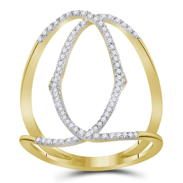 Round Diamond Negative Space Band Ring 1/3 Cttw 10KT Yellow Gold
