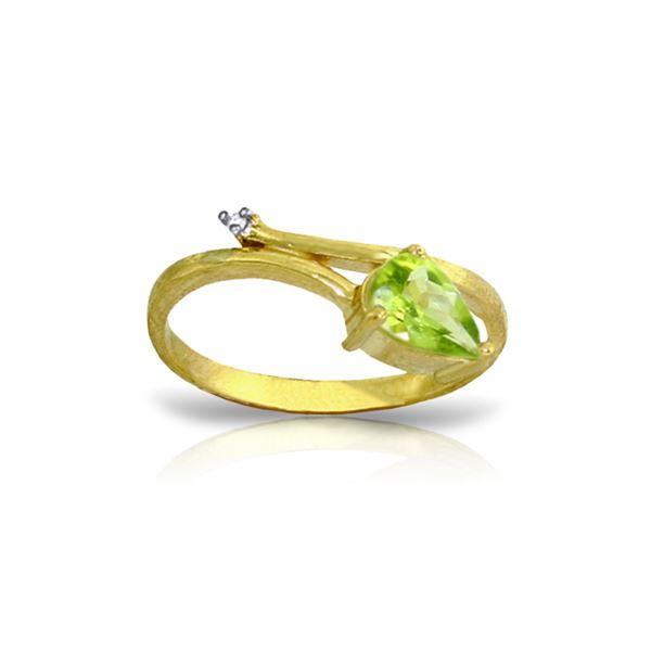 Genuine 0.83 ctw Peridot & Diamond Ring 14KT Yellow Gold - REF-40A5K