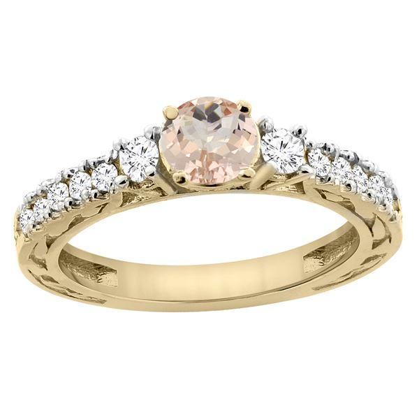 1.05 CTW Morganite & Diamond Ring 14K Yellow Gold - REF-82Y3V