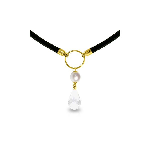 Genuine 9 ctw White Topaz & Pearl Necklace 14KT Yellow Gold - REF-54V5W