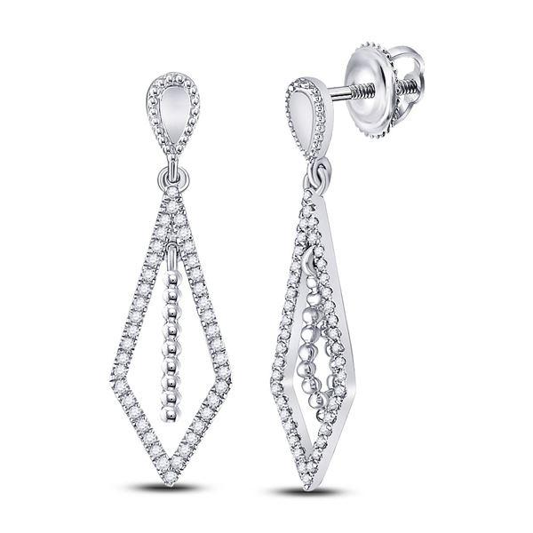 Round Diamond Geometric Dangle Earrings 1/5 Cttw 10KT White Gold