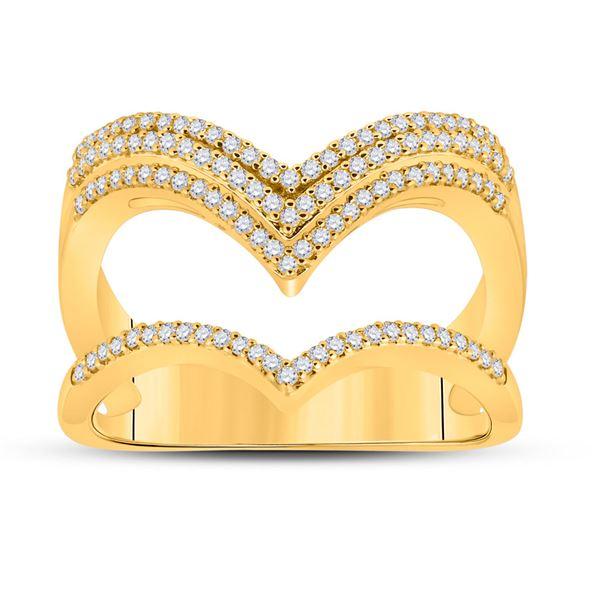Round Diamond Chevron Band Ring 3/8 Cttw 10KT Yellow Gold